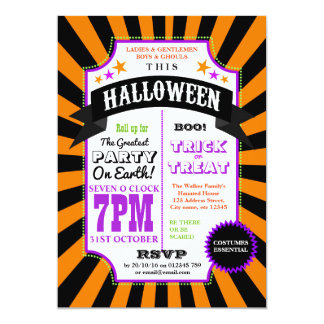 Halloween Party Black and Orange Carnival invite