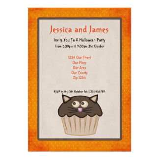 Halloween Party Black Cat Cake Invitations