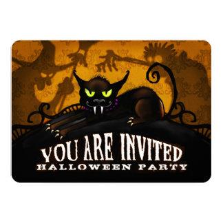 Halloween Party Black Cat Spooky Silhouette Invite