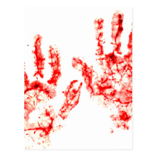 Halloween Party Bloody Handprint Design Postcard
