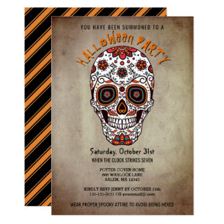 Halloween Party Bright Sugar Skull Day of the Dead Card