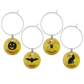 Halloween Party Custom Names Four Wine Charms