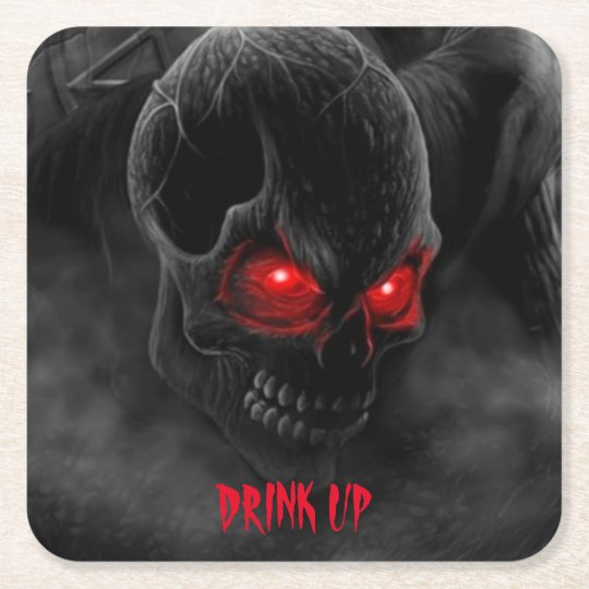 Halloween Party Drink Coaster Scary Human Skull