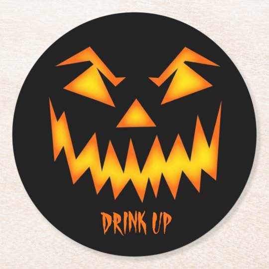 Halloween Party Drink Coaster Scary Pumpkin