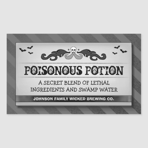 Halloween Party Food or Drink Black Stripe Label Rectangle Stickers