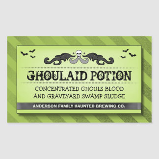 Halloween Party Food or Drink Green Black Label Rectangle Sticker