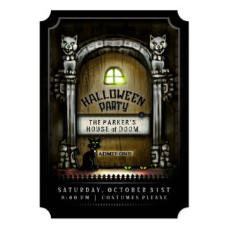Halloween Party Haunted Door Invitation