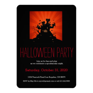 "Halloween Party Haunted House Castle Invitation 5"" X 7"" Invitation Card"