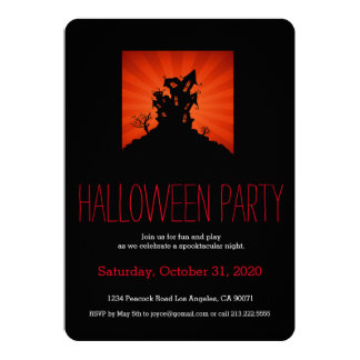 "Halloween Party Haunted House Invitation 5"" X 7"" Invitation Card"
