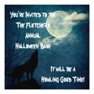 Halloween Party Howling Wolf Full Moon 13 Cm X 13 Cm Square Invitation Card