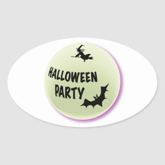 Halloween Party Icon Oval Sticker