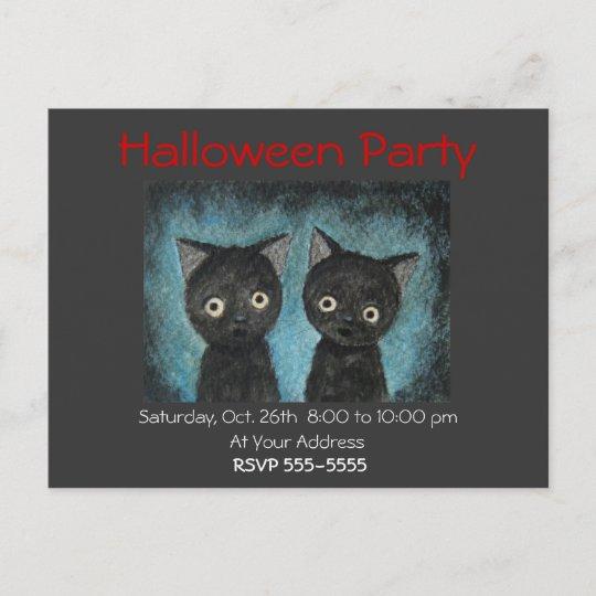 Halloween Party Invitation Black Cat Post Card