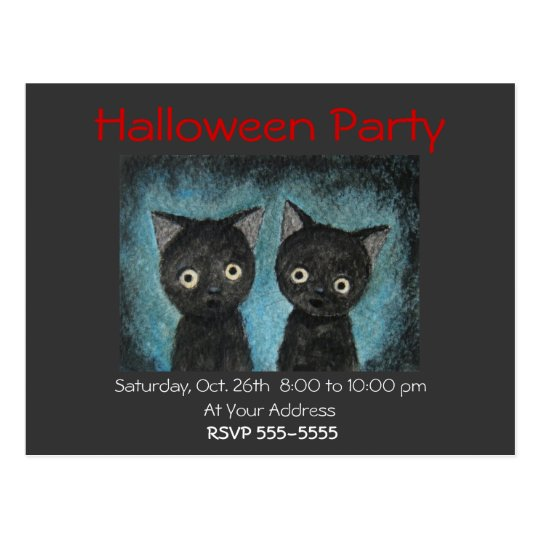 Halloween Party Invitation Black Cat Post Card