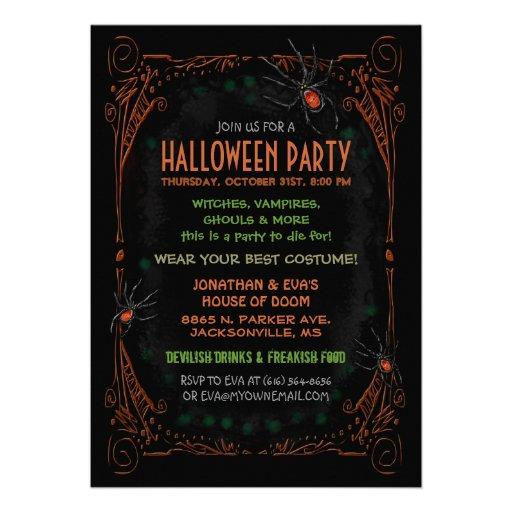 Halloween Party Invitation - Black Orange Spiders Custom Announcements