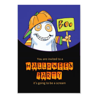 halloween party invitation card with costume ghost