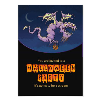 halloween party invitation card with dragon monste