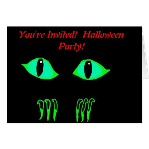 Halloween party invitation creepy claws green eyes greeting card