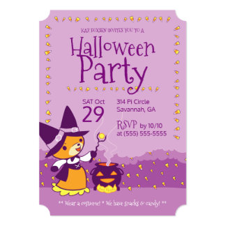 Halloween Party Invitation Fox Witch Summons Candy