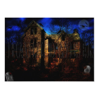 "HALLOWEEN PARTY INVITATION - HAUNTED HOUSE 5"" X 7"" INVITATION CARD"