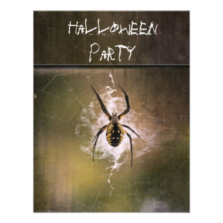 Halloween Party Invitation huge writing spider web