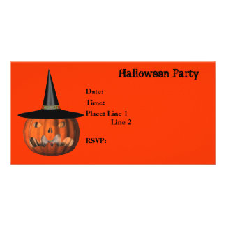 Halloween Party Invitation Jack O Lantern Card Photo Card Template