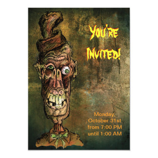 Halloween Party Invitation - Nutty Hat Zombie