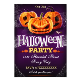 Halloween Party Invitation Pumpkins Customisable