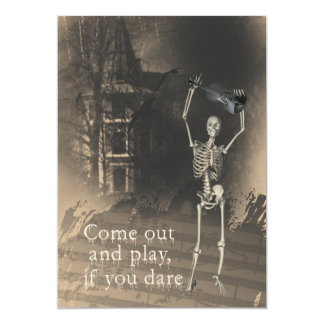Halloween Party Invitation, Skeleton with Violin Card