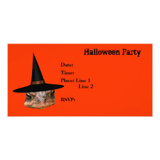 Halloween Party Invitation Toad Face Witch Hat Photo Card Template