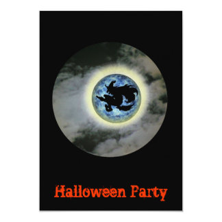 Halloween Party Invitation Witch Full Moon