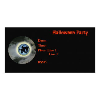 Halloween Party Invitation Witch Full Moon Card Photo Card