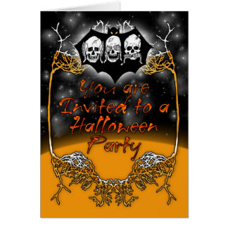 Halloween Party Invitation with Skeletons and Bat Greeting Card