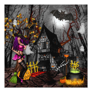 Halloween Party Invitation with Witch and Haunted