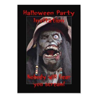 Halloween Party Invitation with zombie skeleton