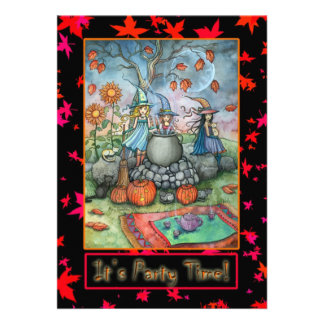 Halloween Party Invitations Little Witch Party