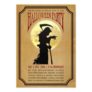 Halloween Party Invitations | Moon & Grim Reaper
