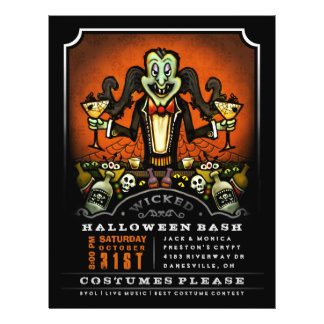 Halloween Party Invite 8.5 x 11 Flyer Dracula Fun