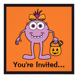 """Halloween Party Invite with Cute Purple Monster 5.25"""" Square Invitation Card"""