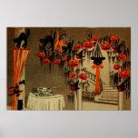 Halloween Party Jack O Lantern Pumpkin Black Cat Print