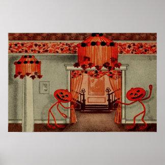 Halloween Party Jack O Lantern Pumpkin Leaves Poster