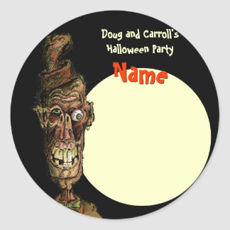 Halloween Party Name Tag - Nutty Hat Zombie