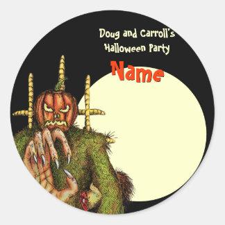 Halloween Party Name Tag - Pumpkin Head Scarecrow