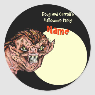 Halloween Party Name Tag - Scary Creature Round Sticker