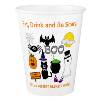 Halloween Party Paper Cups  Eat, Drink & Be Scary