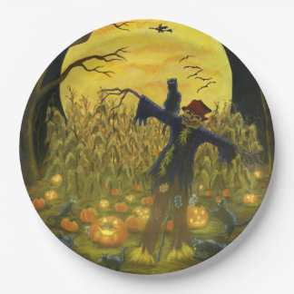 Halloween party paper plates ,scarecrow,black cats