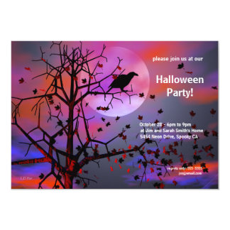 Halloween Party Raven Night Invites