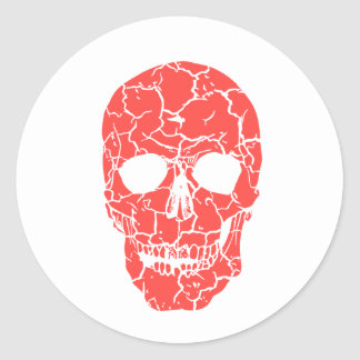 Halloween Party Red & White Skeleton Skull Sticker