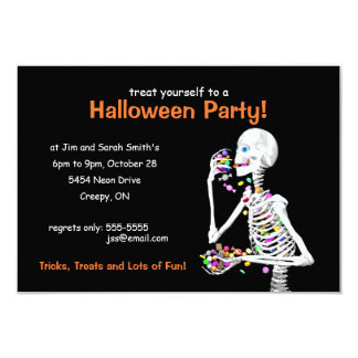 Halloween Party Skeleton 9 Cm X 13 Cm Invitation Card