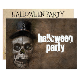 Halloween Party Skull Invitation Personalized