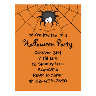 Halloween Party Spider Postcard